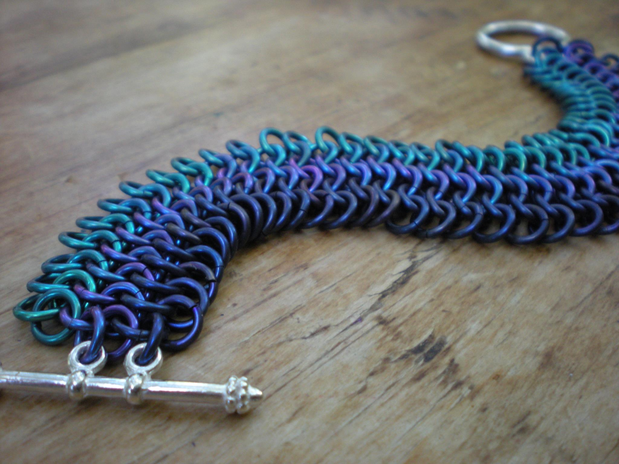 blue ombre pattern chainmaille bracelet michele saulson designs