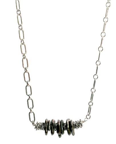 Shibuichi Bronze Beaded Silver Necklace