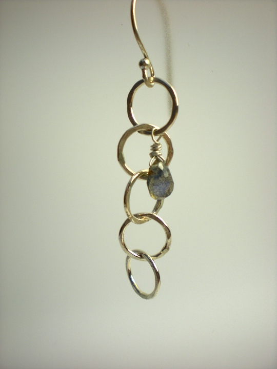 5 Link Silver Circle & Labradorite Earrings