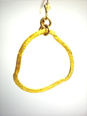 Brushed Vermeil Freeform Ring Earrings