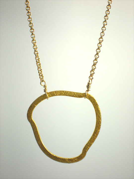 Brushed Vermeil Freeform Ring Necklace