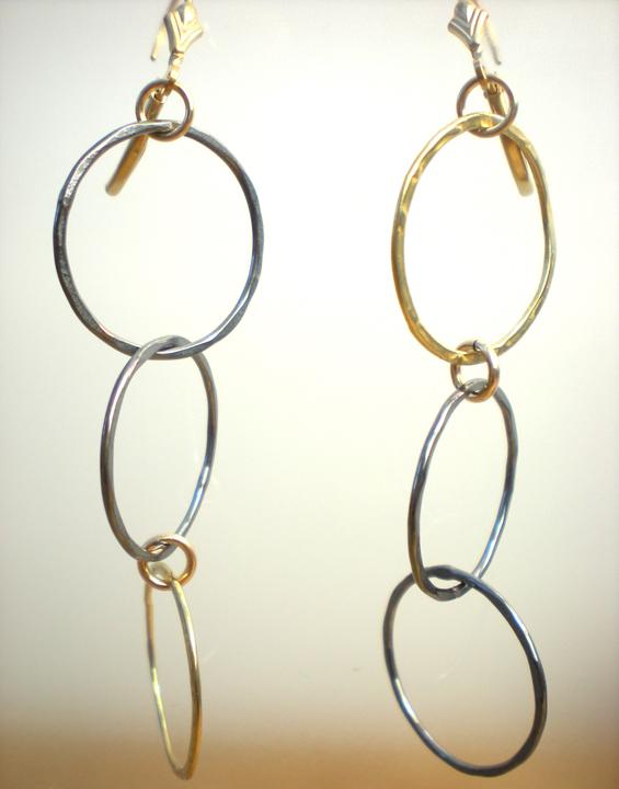 Copper & Brass Ring Earrings