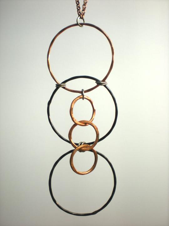 Copper Multi-Circle Pendant Necklace