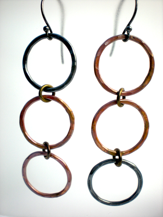 Copper Opposite Circle Earrings