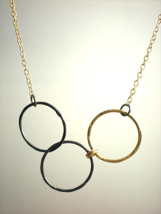 Copper Triple Circle Necklace