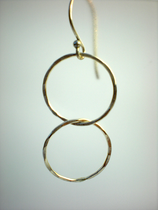 Double Linked Silver Circle Earrings