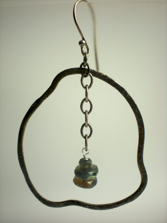 Freeform Silver Ring & Labradorite Earrings
