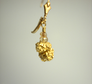 Gold Pyrite & Champagne Quartz Earrings