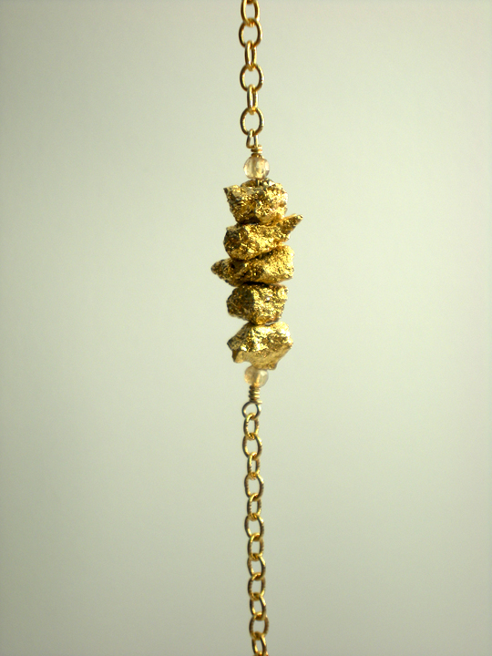 Gold Pyrite & Champagne Quartz Nugget Bracelet