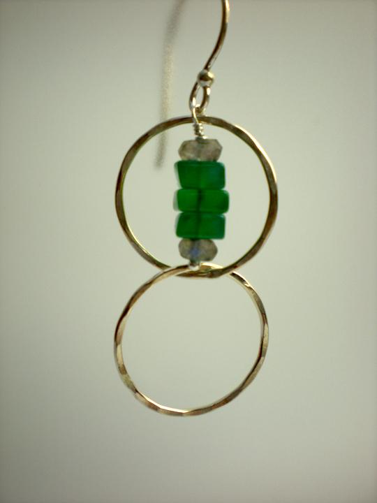 Green Onyx & Labradorite Nugget Earrings