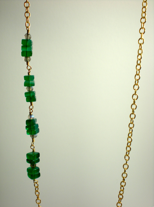 Green Onyx & Labradorite Nugget Necklace