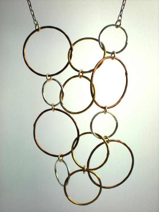 Hanging Multi Circle Bib Necklace