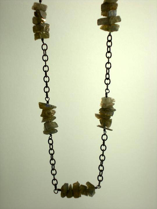 Labradorite Nugget Station Necklace