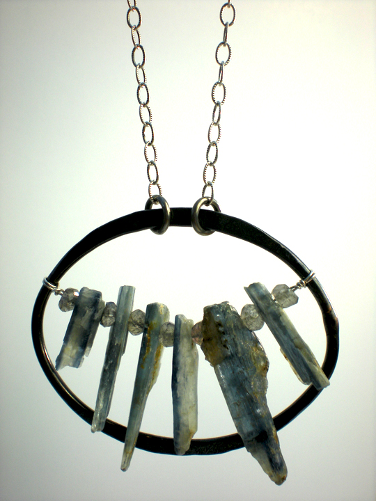 Large Black Copper Oval & Kyanite Shard Necklace