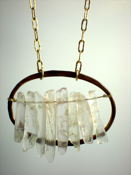 Large Rustic Copper Oval & Kunzite Shard Necklace