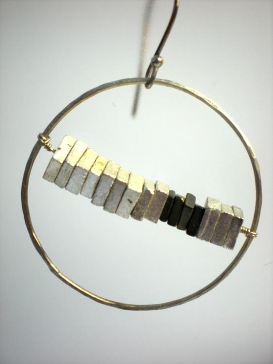 Large Shiny Silver Circle Carbon Pyrite Square Earrings