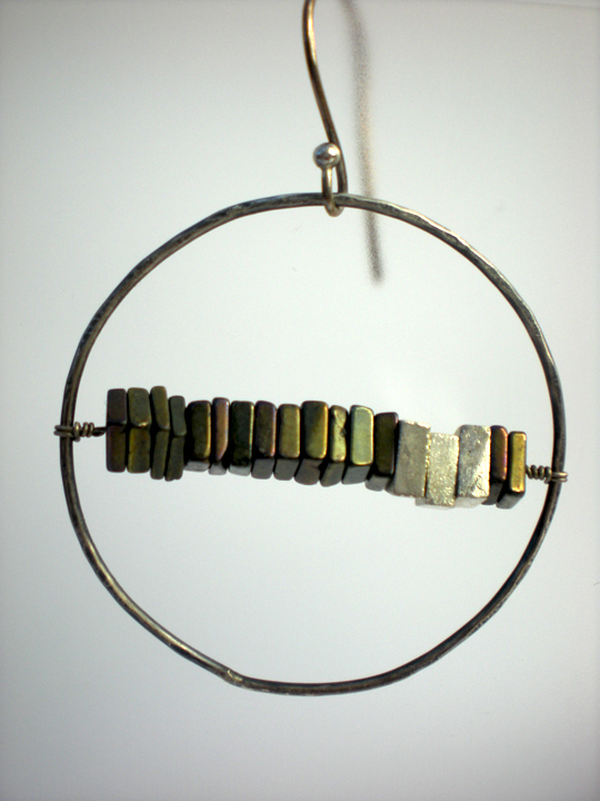 Large Silver Circle Pyrite Square Earrings