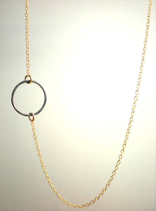 Offset Copper Circle Gold Necklace