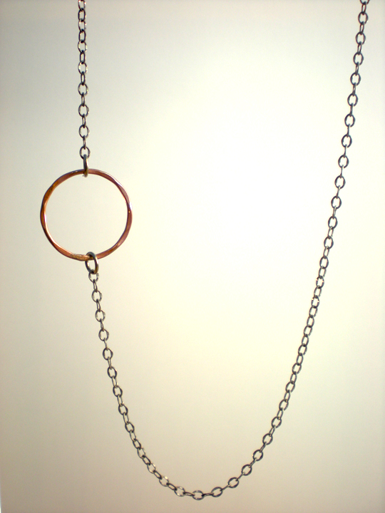 Offset Copper Circle Silver Necklace
