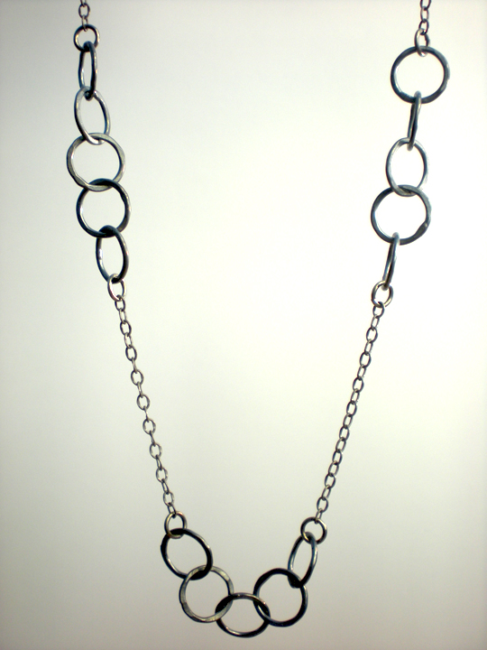 Oxidized Silver 5 Link Station Necklace
