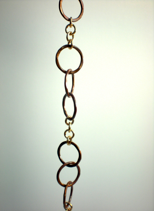 Rustic Copper Triple Link Circle Bracelet
