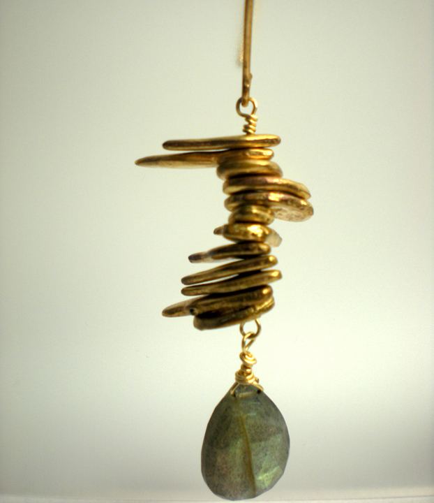 Shibuichi Brass Bead & Labradorite Earrings