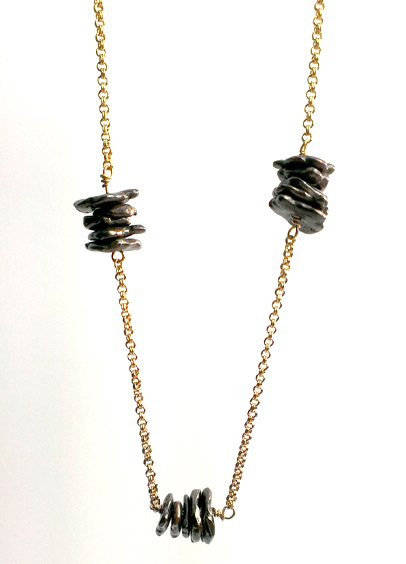 Shibuichi Bronze Beaded Station Necklace
