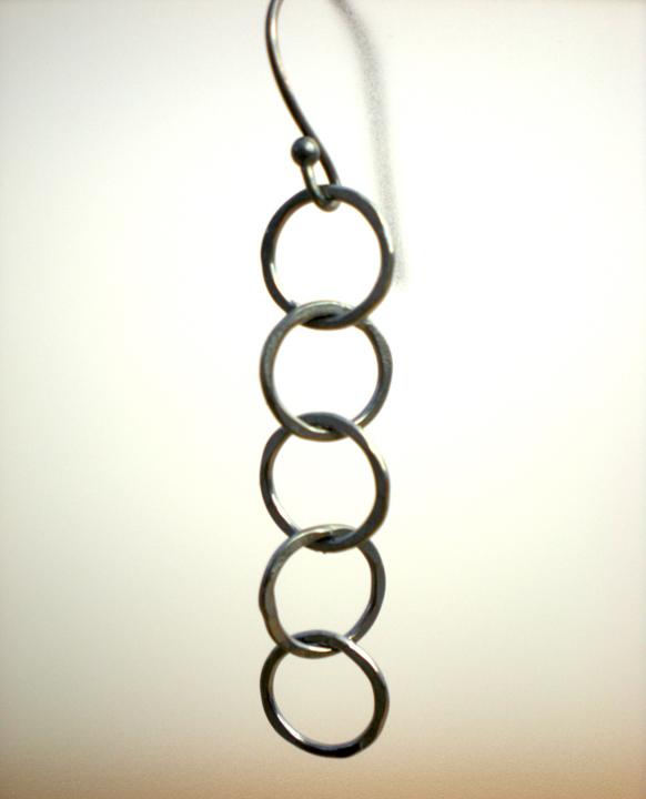 Silver 5 Link Vertical Circle Earrings