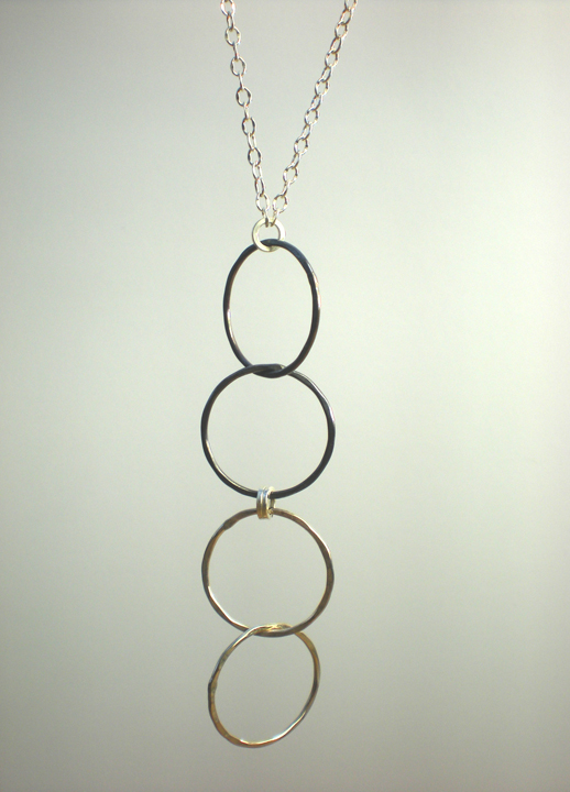 Silver Double Link Vertical Pendant Necklace