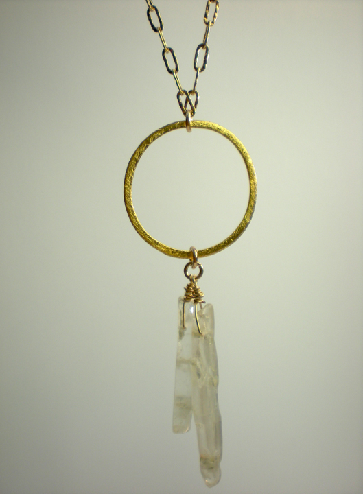 Vermeil Circle & Kyanite Shard Necklace
